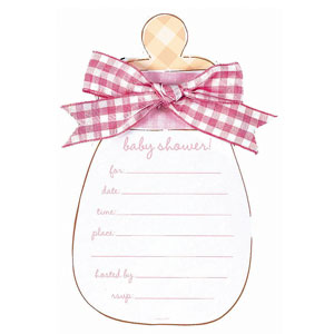 Baby Bottle Novelty Invitation Cards - Pink