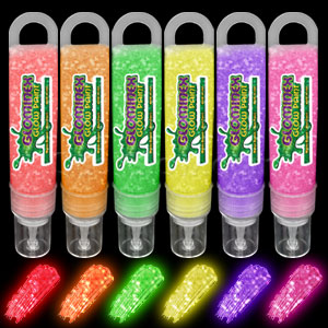 Glominex Glitter Glow Paint 1 oz Tubes - Assorted 6ct