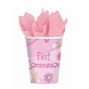 First Communion Pink 9 oz. Cups- 18ct