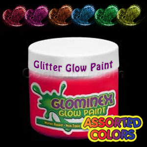 Glominex™ Glitter Glow Paint Pint Assorted Jars - 6
