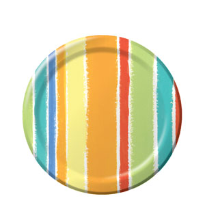 Sunshine Stripes 7 Inch Plates- 8ct