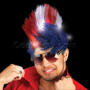 Fun Central O564 LED Light Up Mohawk Wig - Patriotic