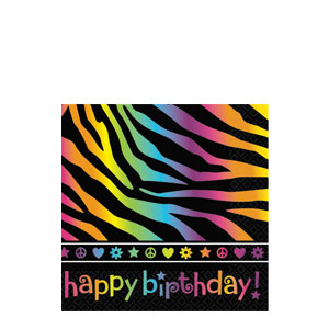 Neon Birthday Beverage Napkins- 16ct