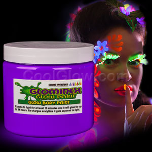 Glominex Glow Body Paint 16oz Jar - Purple