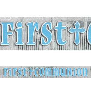 First Communion Blue Glitter Letter Banner- 12ft