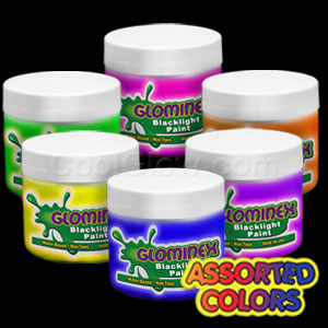 Glominex™ Blacklight UV Reactive Paint Assorted 8 oz Jars - 6