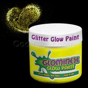 Glominex Glitter Glow Paint Pint - Yellow