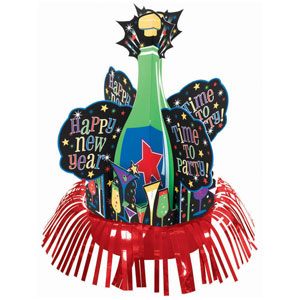 Jewel Tone Fringed New Years Centerpiece- 10 Inch