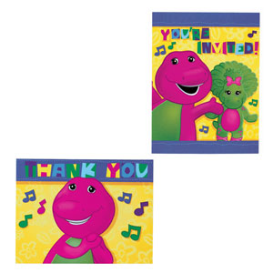 Barney Invitations and Thank You Cards Combo- 16ct