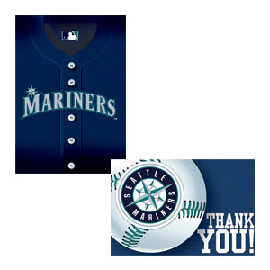 Seattle Mariners Invitations and Thank You Cards Set- 16ct