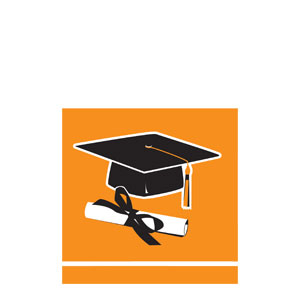 Grad Beverage Napkins - Orange