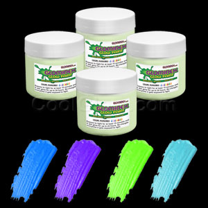 Glominex Glow Paint 4 oz Jars - Invisible Day Assorted