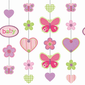 Baby Girl Glitter Hanging Decoration - 36 Inch 5ct