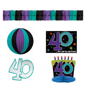 The Party Continues-40 Decorating Kit- 8pc