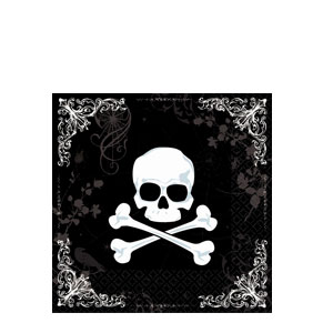 Skull and Bone Beverage Napkins- 36ct