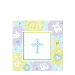 Sweet Christening Blue Luncheon Napkins- 16ct