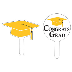 Grad Cap Cupcake Pick - Yellow