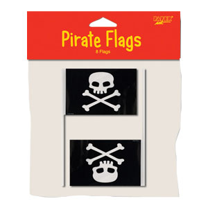 Pirate Plastic Flags- 8ct