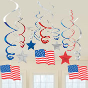 Assorted Patriotic Swirl Dangles - 30ct