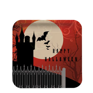 Frightful Night Deep Dish 7 Inch Square Plates- 8ct