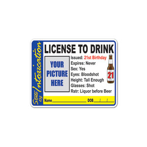 License to Drink Party Button