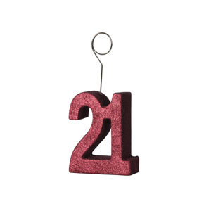 Red Glittered 21 Balloon Holder - 6oz