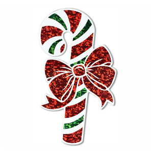Prismatic Candy Cane Cutout - 16in