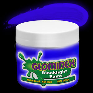 Glominex™ Blacklight UV Reactive Paint 8 oz Jar - Blue