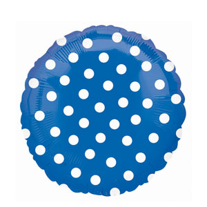 Blue Polka Dot Metallic Balloon- 18in