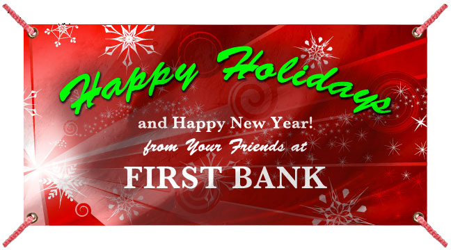 Red Snow Burst 'Happy Holidays' - Custom Banner