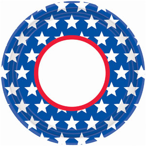 Red White Blue Stars 10 inch Plates - 18ct