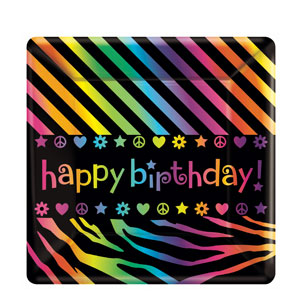Neon Birthday 10 Inch Square Plates- 8ct