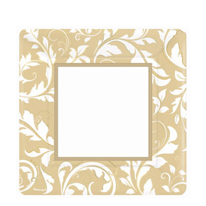 Gold Elegant Scroll 10 Inch Square Metallic Plates- 8ct