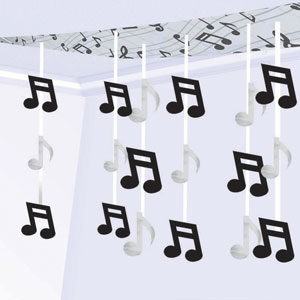 Rock and Roll Music Notes Foil Ceiling Decorations- 10ft