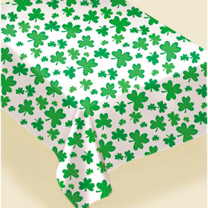 Shamrocks Flannel-Backed Vinyl Tablecover