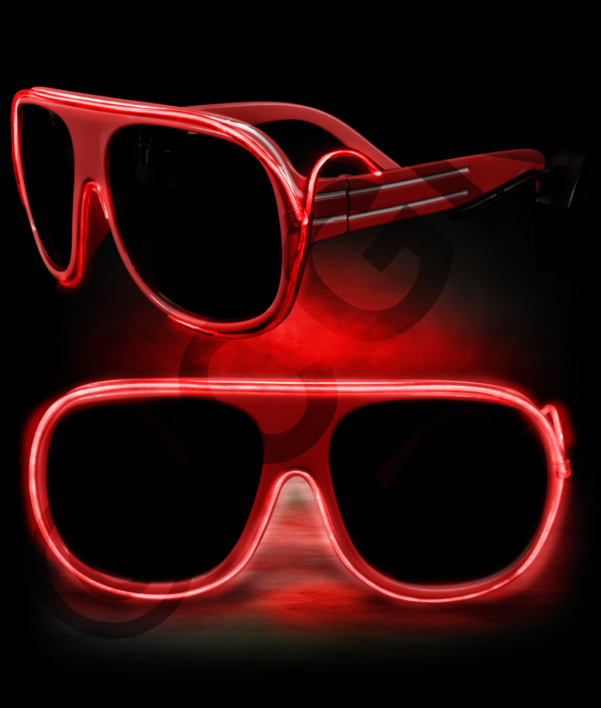 EL Aviator Glasses-Red