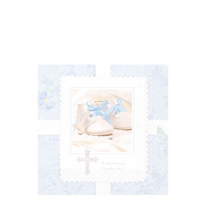 Tiny Blessing Blue Beverage Napkins- 16ct