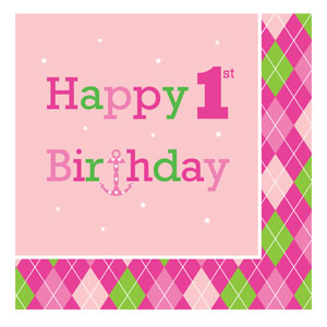 Ocean Preppy Happy Birthday Napkins - 16ct