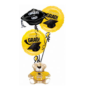 Yellow Grad Bear Balloon Bouquets- 4pc
