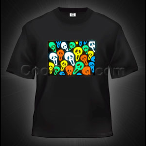 LED Sound Activated T-Shirt - Scary Faces
