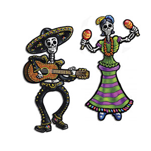 Day of the Dead Skeleton Cutouts - 2ct