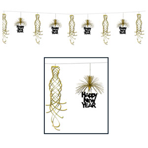 Happy New Year Shimmer Garland - Gold