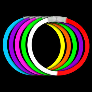 Fun Central I37 8 Inch Glow in the Dark Bracelets Bi-Colors - Assorted
