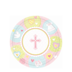Sweet Christening Pink 7 Inch Plates- 8ct