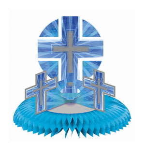 Joyous Cross Blue Deluxe Honeycomb Centerpiece- 15in