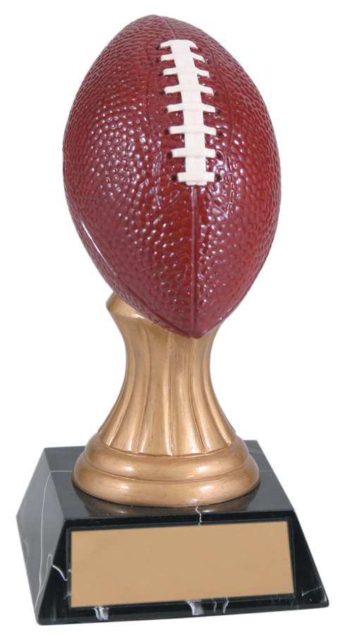 5 3/4 inch Color Football Gold Pedestal Resin