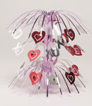 Silver and Red Hearts Cascade Centerpiece
