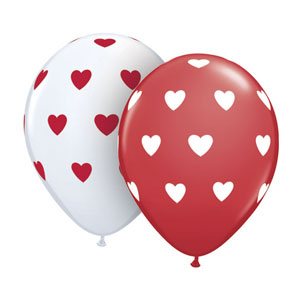 Big Polka Heart Balloons- Assorted