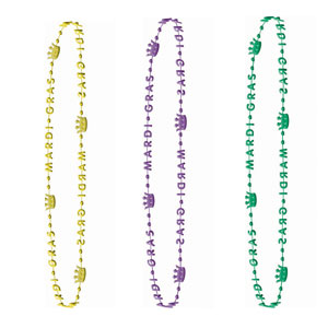 32 Inch Mardi Gras Crown Beads - 6ct