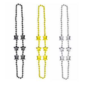 36 Inch Top Hat Bead Necklaces - 3ct